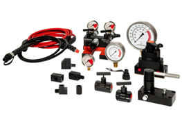 System Components. Hoses, oil, pressure gauges, manifolds, couplers, fittings and control valves.
